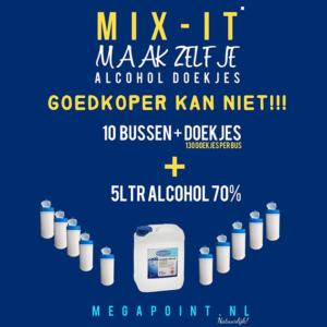 Medisept Mix-It 10 Bussen Doekjes van 130 stuks & 5 Liter Alcohol 70%