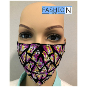 Fashion Mask - 2 Laags - Kleur- Sparkle Paars