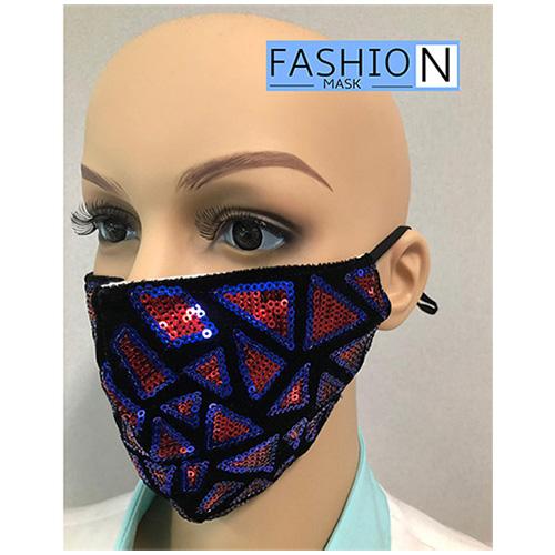 Fashion Mask - 2 Laags - Kleur- Sparkle Rood Blauw