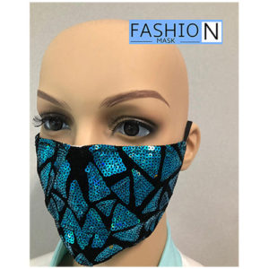 Fashion Mask - 2 Laags - Kleur- Sparkle Turquoise