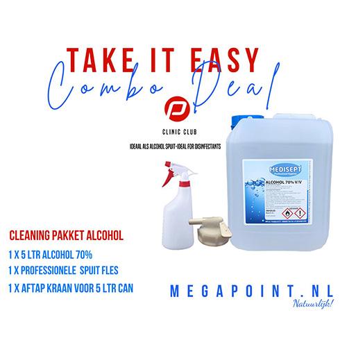 Medisept Cleaning Pakket - 1 x Alcohol 70% - 1 x Sprayfles - 1 x Aftapkraan